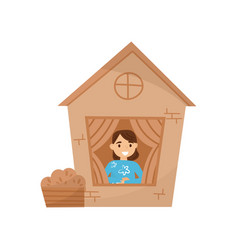 cute little girl playing in house made of vector image