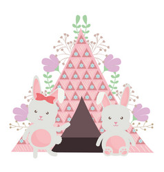 Cute little rabbit with tent and floral decoration vector