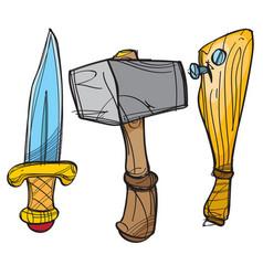 Dagger hammer and baseball bat cartoon drawing vector