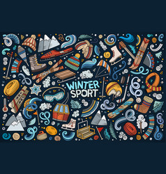 doodle cartoon set winter sports objects and vector image