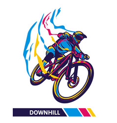 Downhill mountain bike colorful artwork cyclist vector