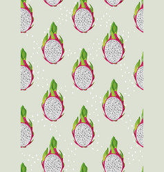 dragon fruit slice seamless pattern with seed on vector image