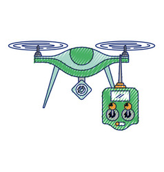 drone with remote control device technologies vector image