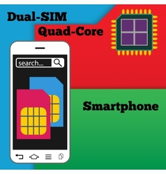Dual SIM smartphone with quad-core processor vector