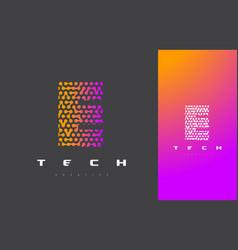 e letter logo technology connected dots letter vector image