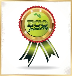 Ecology label with ribbons vector image