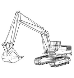 Excavator abstract drawing wire-frame eps10 vector