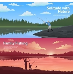 Family Fishing Horizontal Banners Set vector image