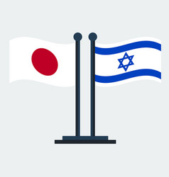 flag of japan and israelflag stand vector image