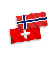 flags norway and switzerland on a white vector image