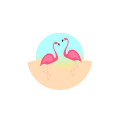 flamingo bird design on background minimal flat vector image