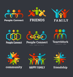 friendship logo business community partnership vector image