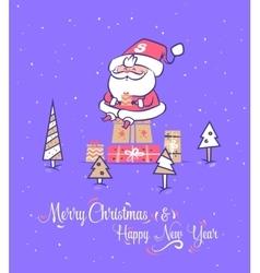 Funny santa set Christmas greeting card vector