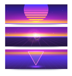 Futuristic abstract banners with the sun vector
