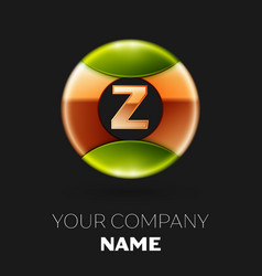 golden letter z logo symbol in golden-green circle vector image