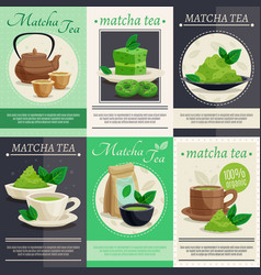 green matcha tea mini banners vector image