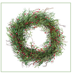 Hand-drawn green christmas wreath with red berries vector