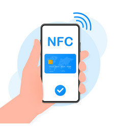 Hand holds phone with contactless payment methods vector