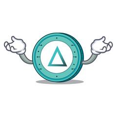 Hand up salt coin character cartoon vector