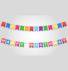 Happy birthday inscription text on flags stock vector