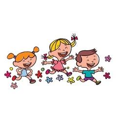 Happy children running vector