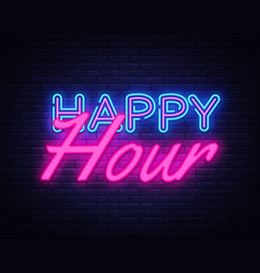 happy hour neon text happy hour neon sign vector image