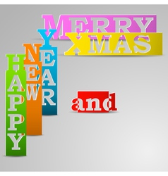 Happy New Year and Merry Xmas paper strips vector image