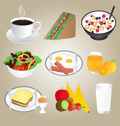 Healthy Foods and Breakfast Set vector image