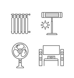 Household appliance linear icons set vector