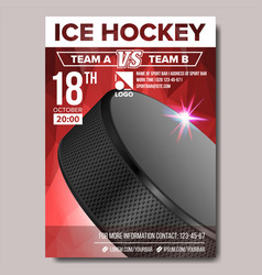 ice hockey poster sport event announcement vector image