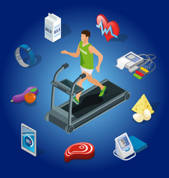 isometric healthy lifestyle concept vector image