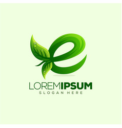letter e leaf logo design vector image