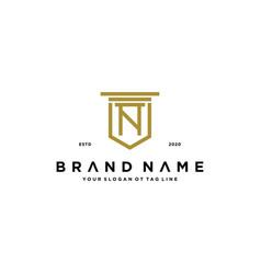 Letter n shield law logo design concept vector