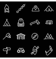 line camping icon set vector image