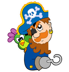 Lurking pirate with parrot vector