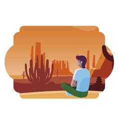 Man contemplating horizon in desert scene vector