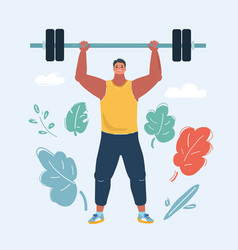 Man with a barbell vector