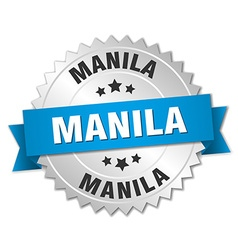 Manila round silver badge with blue ribbon vector
