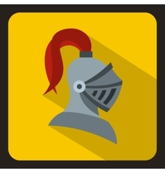 Medieval knight helmet icon flat style vector image