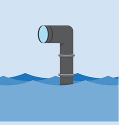 Metal periscope above the water vector