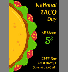 mexican fast food for national taco day festival vector image