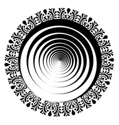 mix of mandala and guilloche in black and white vector image