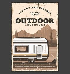 Mobile outdoor home van trailer on wheels vector