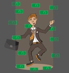Money falling on a person vector