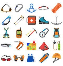 Mountaineering equipment icons set flat style vector