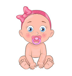 Newborn girl toddler pacifier in mouth and diapers vector
