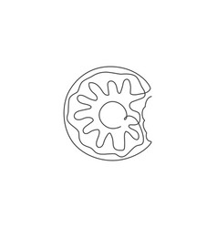 one single line drawing fresh sweet donuts vector image