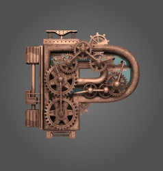 P rusted letter with gears vector