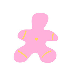 Pink ornate gingerbread man flat abstract element vector