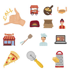 Pizza and pizzeria cartoon icons in set collection vector